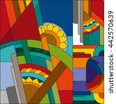 art deco vector colored... | Shutterstock .eps vector #442570639