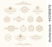 set of elegant floral monograms ...   Shutterstock . vector #442580878