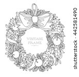 christmas wreath with bow ... | Shutterstock .eps vector #442581490