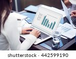 pleasant woman using laptop | Shutterstock . vector #442599190