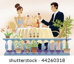 loving couple evening supper in ... | Shutterstock . vector #44260318