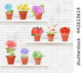 shabby chic brick wall with...   Shutterstock .eps vector #442613614