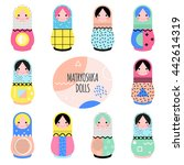 set of cute matryoshka dolls... | Shutterstock .eps vector #442614319