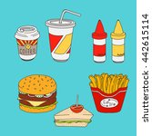 set of cartoon fast food meal... | Shutterstock .eps vector #442615114