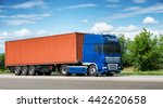 cargo truck with container on... | Shutterstock . vector #442620658