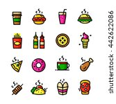 thin line junk food icons set ...