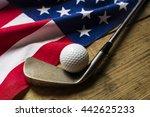 Golf Ball With Flag Of Usa On...
