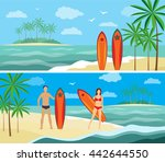 summer vacation on the coast ... | Shutterstock .eps vector #442644550
