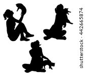 vector silhouette of young girl ... | Shutterstock .eps vector #442665874