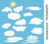 cartoon clouds and sun.... | Shutterstock .eps vector #442680694