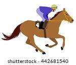 jockey riding race horse... | Shutterstock .eps vector #442681540