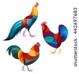 stylized chickens   roosters | Shutterstock .eps vector #442697683