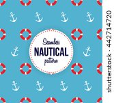 nautical pattern of anchors and ... | Shutterstock .eps vector #442714720