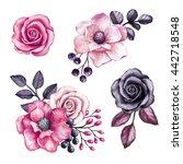 watercolor illustration  pink... | Shutterstock . vector #442718548