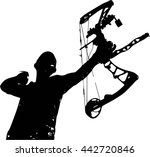 a vector silhouette of a hunter ... | Shutterstock .eps vector #442720846
