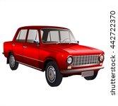 automobile retro car isolated...   Shutterstock . vector #442722370