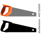 hand saw sawing on a white... | Shutterstock . vector #442726363