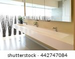 row of hand washing sinks in... | Shutterstock . vector #442747084