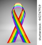 rainbow ribbon   3d rendering | Shutterstock . vector #442767919