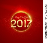 vintage happy new year on red... | Shutterstock .eps vector #442769323