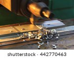 lathe turning. metal industry... | Shutterstock . vector #442770463