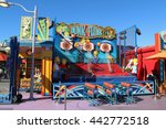 Small photo of Los Angeles, California, USA - November 22, 2015: Dunk or Flunk is a basketball throwing game in front of The Simpsons Ride at Universal Studios Hollywood.