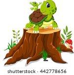 Cartoon Turtle Posing On Tree...