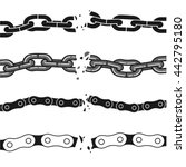 broken chains set. isolated... | Shutterstock .eps vector #442795180