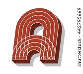 sport font  letter a  running... | Shutterstock .eps vector #442795669