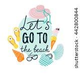 summer banner with beach... | Shutterstock .eps vector #442800844