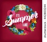 summer time lettering... | Shutterstock . vector #442803244