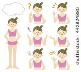 woman with various expression | Shutterstock .eps vector #442824880