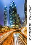 hong kong city at night light   | Shutterstock . vector #442839604