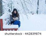 Snow Park Bench Girl