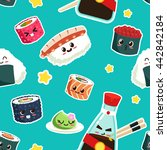cute sushi seamless pattern... | Shutterstock .eps vector #442842184