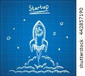 blueprint sketch rocket startup.... | Shutterstock .eps vector #442857190