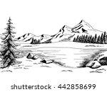 mountain lake graphic art black ... | Shutterstock .eps vector #442858699