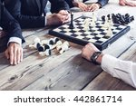 business people playing chess ... | Shutterstock . vector #442861714