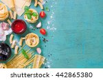 italian food background with... | Shutterstock . vector #442865380