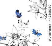 Stock photo watercolor flower sketch with butterfly on white background drawn nature illustration chinese ink 442868380