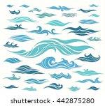 vector waves set of elements... | Shutterstock .eps vector #442875280