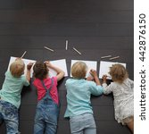 group of cute children drawing... | Shutterstock . vector #442876150