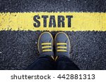 start line child in sneakers... | Shutterstock . vector #442881313