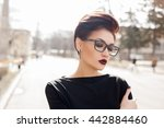 young stylish woman walking in... | Shutterstock . vector #442884460