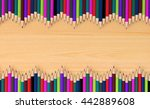 colored pencils in wave pattern ... | Shutterstock . vector #442889608