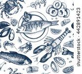 vector seafood background. hand ... | Shutterstock .eps vector #442891423