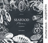 vector seafood card or flyer... | Shutterstock .eps vector #442893994