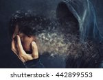 hooded man taking off his face... | Shutterstock . vector #442899553