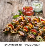 Grilled Skewers With Vegetable...