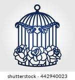 laser cut wedding birdcage with ... | Shutterstock .eps vector #442940023